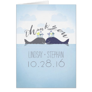 Cartes Merci de mariage de couples de baleines d'océan
