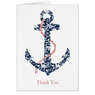 Cartes Merci de mariage de plage de marine et d'ancre de