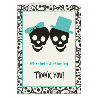 Cartes Merci de mariage de turquoise de Halloween de