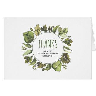 Cartes Merci de mariage de verdure de laurier d'aquarelle