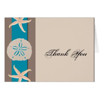 Cartes Merci de mariage d'étoiles de mer de Brown et de