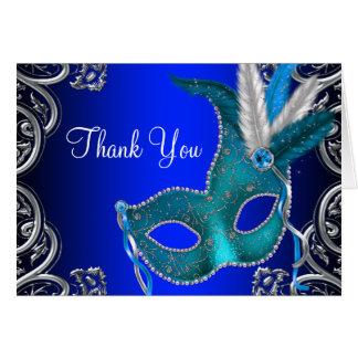 Cartes Merci de partie de mascarade de bleu royal
