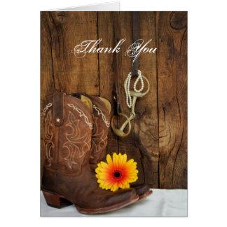 Cartes Merci de peu de bottes de cowboy, de marguerite et