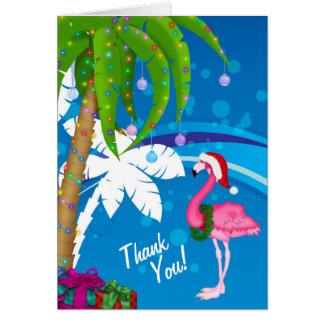Cartes Merci de plage de vacances de flamant de Père Noël