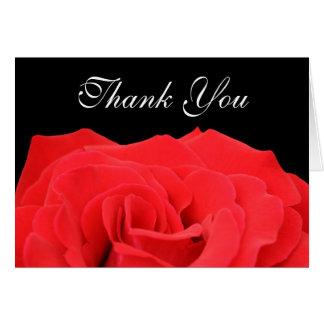Cartes Merci de rose rouge et de noir