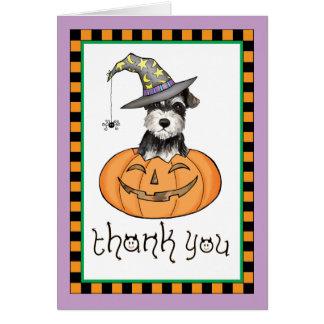 Cartes Merci de Schnauzer miniature de Halloween