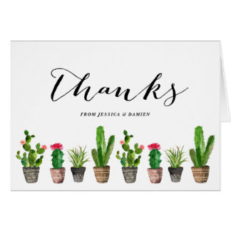 Cartes Merci de Succulents d'aquarelle de Boho