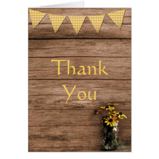 Cartes Merci de tournesol rustique et de bannières