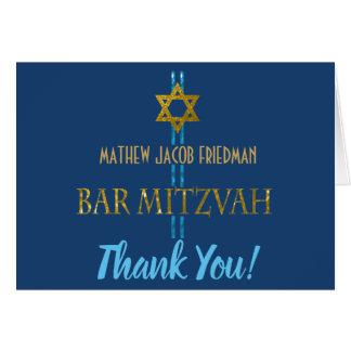 Cartes Merci d'étoile de David de Mitzvah de barre