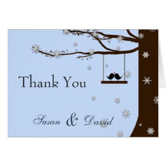 Cartes Merci d'hiver de chêne de flocons de neige