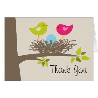 Cartes Merci du nid de l'oiseau bleu