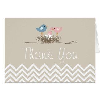 Cartes Merci du nid de l'oiseau de filles de Chevron