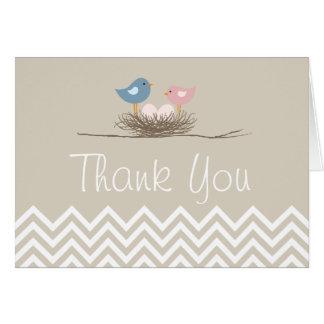 Cartes Merci du nid de l'oiseau jumel de filles de