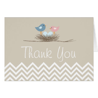 Cartes Merci du nid de l'oiseau jumel de garçons de