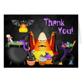 Cartes Merci éffrayant de Halloween de festins de bonbons