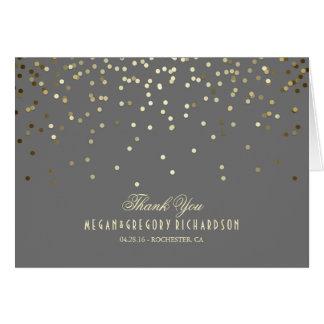 Cartes Merci élégant de mariage de confettis d'or