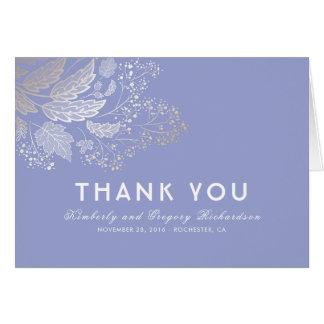 Cartes Merci élégant de mariage de feuillage pourpre de