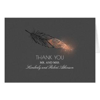 Cartes Merci élégant de plume de scintillement plongé par