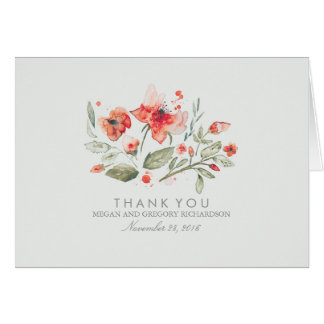 Cartes Merci élégant floral de mariage d'aquarelle