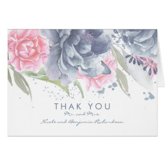 Cartes Merci élégant floral de mariage d'aquarelle en