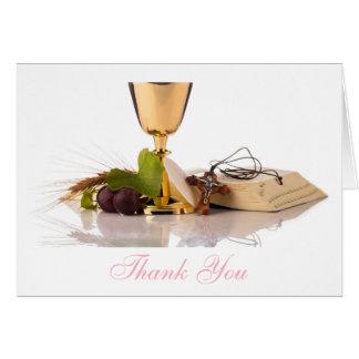 Cartes Merci élégant moderne de communion de filles