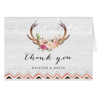 Cartes Merci en bois blanc rustique floral d'Antler Boho