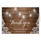 Cartes Merci en bois rustique de dentelle de lumières de