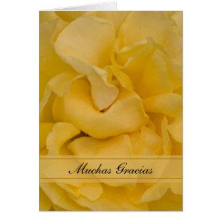 Cartes Merci espagnol Gracias de fleur de rose jaune