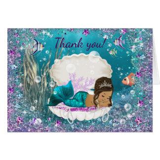 Cartes Merci ethnique de baby shower de sirène