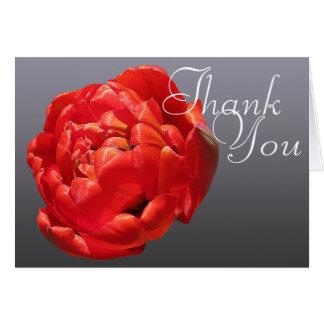 Cartes Merci floral chic de mod de photo colorée rouge de