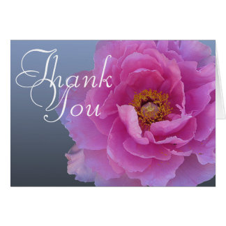 Cartes Merci floral chic de mod de pivoine de photo rose