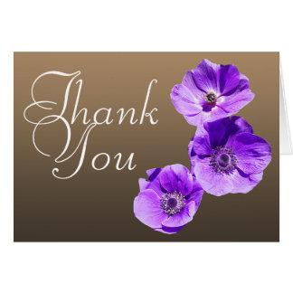 Cartes Merci floral chic de photo colorée pourpre de