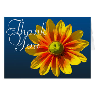 Cartes Merci floral chic de photo couleur Noir-Eyed de