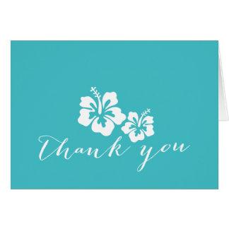 Cartes Merci floral de ketmie de turquoise