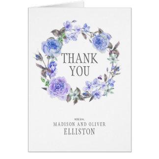 Cartes Merci floral de l'aquarelle pourpre en pastel  