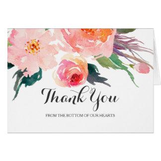 Cartes Merci floral de mariage d'aquarelle chic