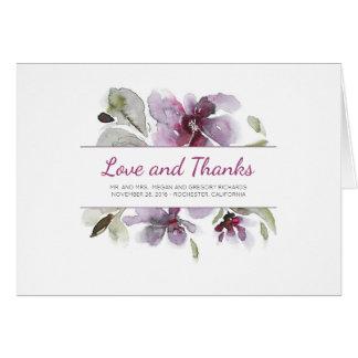 Cartes Merci floral de mariage d'aquarelle de prune