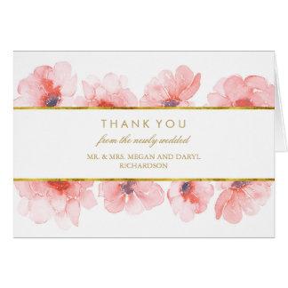 Cartes Merci floral de mariage d'aquarelle d'or