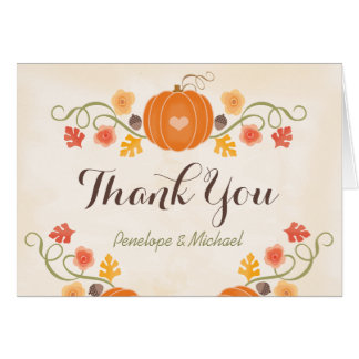 Cartes Merci floral de mariage de automne de citrouille
