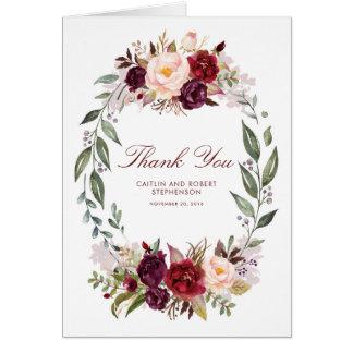 Cartes Merci floral de mariage de Marsala Bourgogne