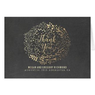 Cartes Merci floral de mariage de tableau et d'or