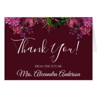Cartes Merci floral de Marsala Bourgogne de douche