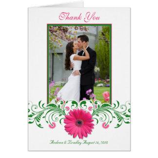 Cartes Merci floral de photo de Gerbera de vert rose de