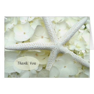 Cartes Merci floral d'étoiles de mer de blanc de jardin
