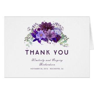 Cartes Merci floral pourpre et violet de prune de mariage