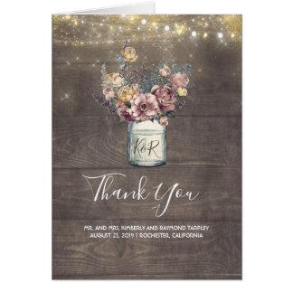 Cartes Merci floral rustique de mariage de pot de maçon