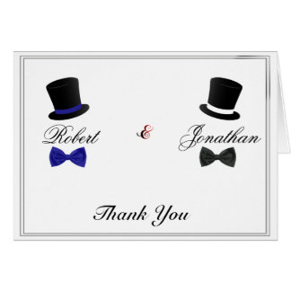Cartes Merci gai bleu de mariage de casquettes supérieurs