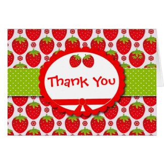 Cartes Merci Girly et personnalisé de fraise mignonne