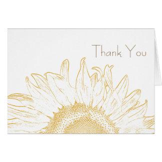 Cartes Merci jaune et blanc de graphique de tournesol