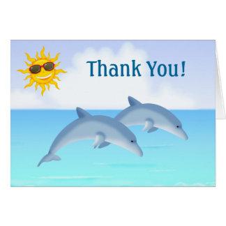 Cartes Merci mignon de plage d'océan de dauphins